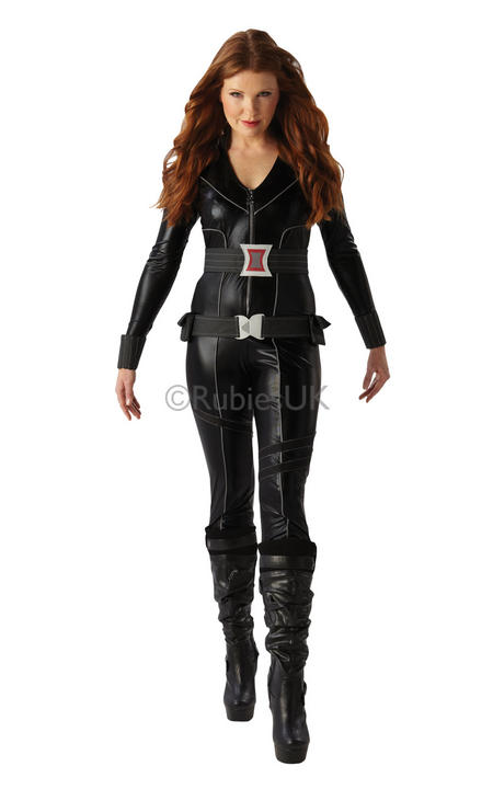 Adult Super Sexy Marvel Avengers Black Widow Ladies Fancy Dress Costume Outfit Thumbnail 1