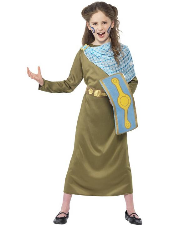 Kids Horrible Histories Queen Boudica Girls Book Week Fancy Dress Costume Outfit Thumbnail 1