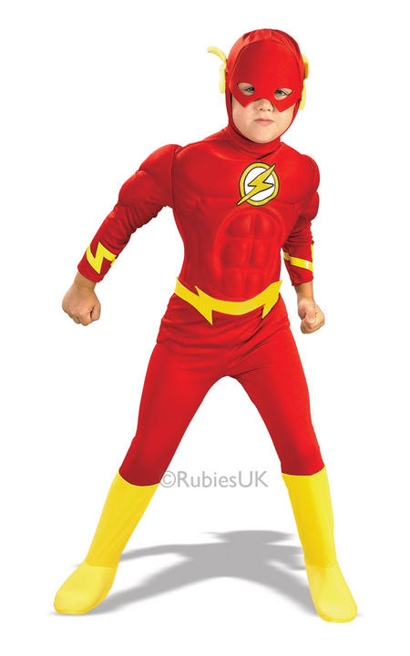 Kids Deluxe Muscle Chest The Flash Fancy Dress Costume Thumbnail 1