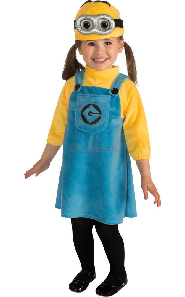 Girls Despicable Me Female Minion Costume Kids Fancy Dress Costume