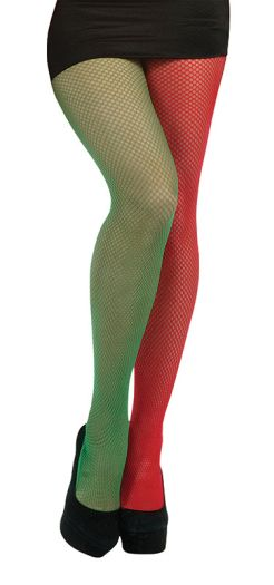Red and Green Fishnet Tights