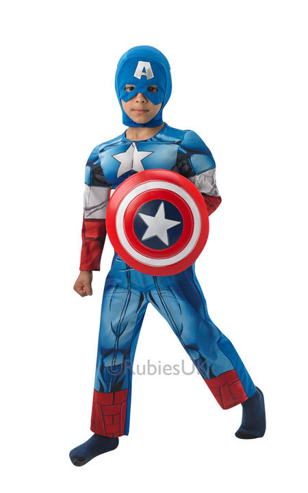 Kids Marvel Avengers Superhero CAPTAIN AMERICA Boys Fancy Dress Costume Outfit Thumbnail 1