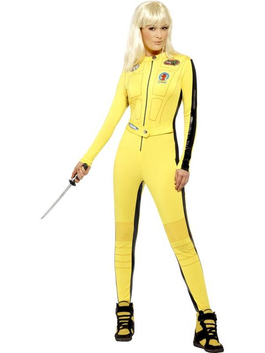 Adult Sexy Yellow Kill Bill Jumpsuit Ladies Fancy Dress Costume Party Outfit Thumbnail 1
