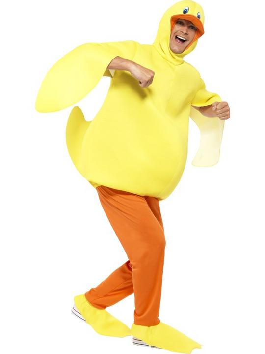 Duck Costume Mens Womens Costume Adults Fancy Dress Outfit Animal Bird  Thumbnail 1