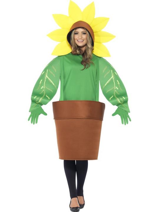 Adult Funny Garden Flower Pot Sunflower Ladies Fancy Dress Costume Party Outfit Thumbnail 1
