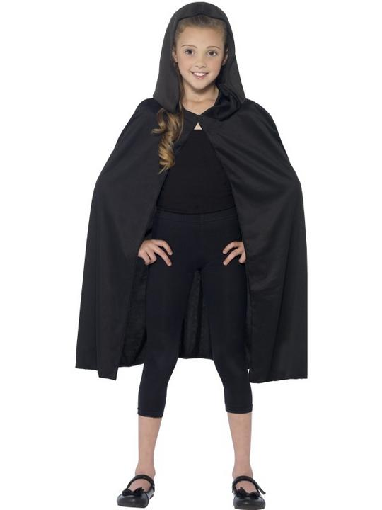 Childs Black  Hooded Cape  Thumbnail 1