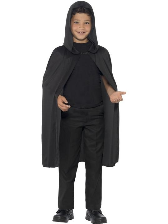Childs Black  Hooded Cape  Thumbnail 2