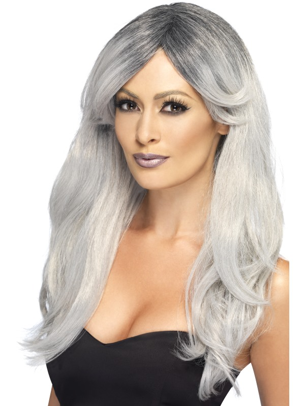 Adult Ghostly Glamour Wig Ladies Halloween Party Fancy Dress Costume Accessory