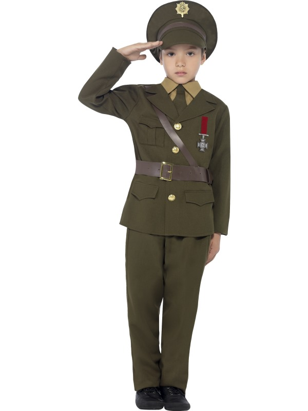 Kids 1930s-1940s Army Officer Uniform Boys Book Week Fancy Dress Childs Costume
