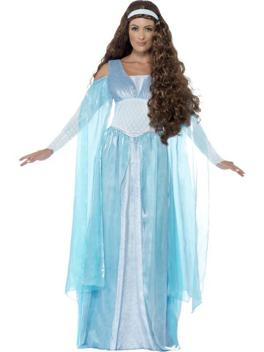 Medieval Maiden Warrior Womens Costume Ladies Fancy Dress Outfit Roman Royal Thumbnail 1