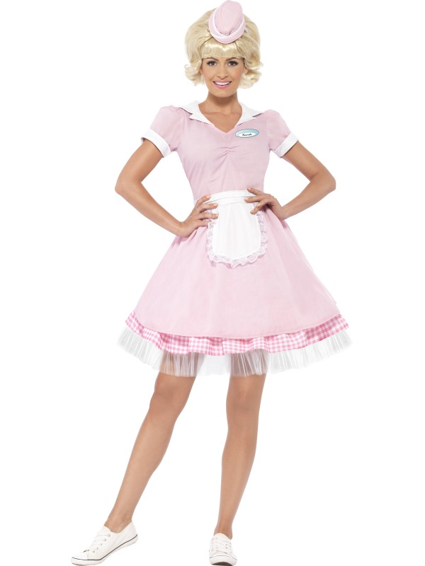 Beautiful 50's Soda Pop Diner Girl Ladies Fancy Dress Costume Hen Night Outfit