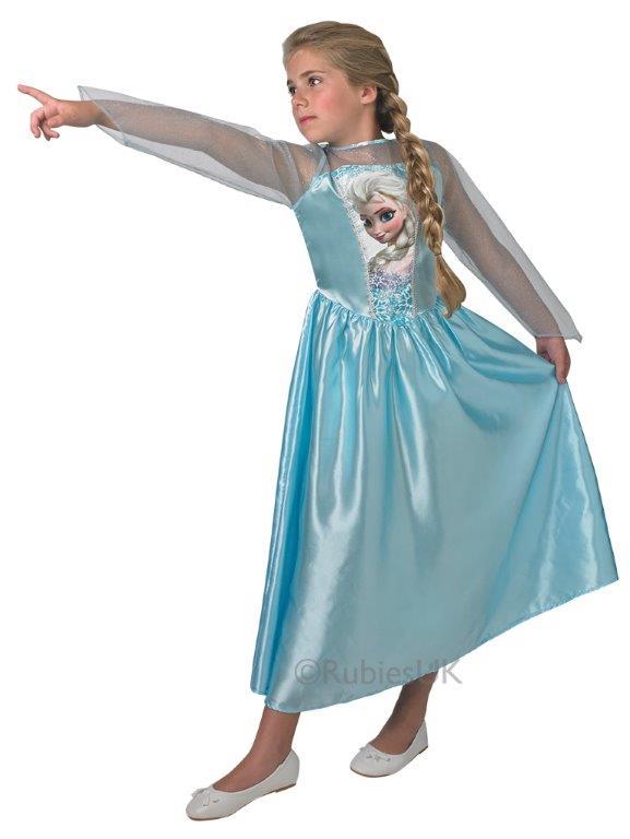 Kids Licensed Disney Frozen Princess Elsa Girls Fancy Dress Costume  9-14 Years