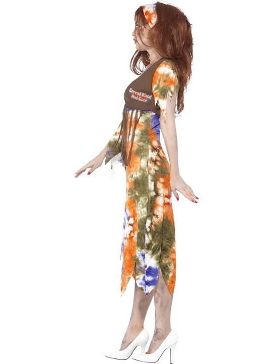 Adult 60s 70s Zombie Hippie Ladies Halloween Party Fancy Dress Costume Outfit Thumbnail 3