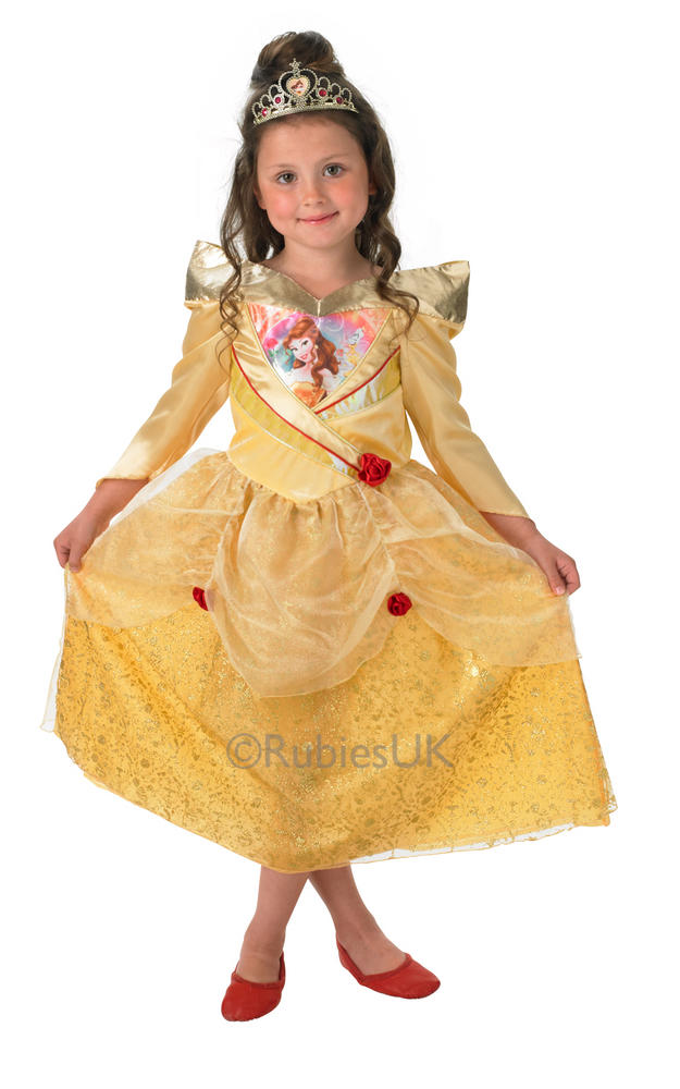 Child Disney Princess Belle Shimmer Girls Book Week Fancy Dress Kids Costume