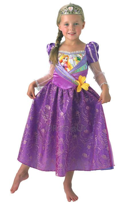 Child Disney Princess Shimmer Rapunzel Girls Book Week Fancy Dress Kids Costume Thumbnail 1