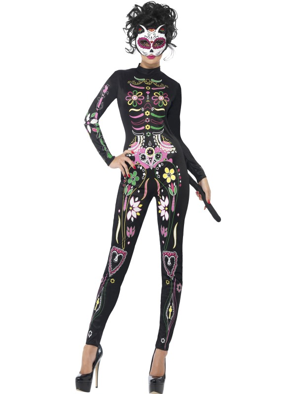 Adult Sexy Day Of The Dead Sugar Skull Cat Ladies Halloween Fancy Dress Costume