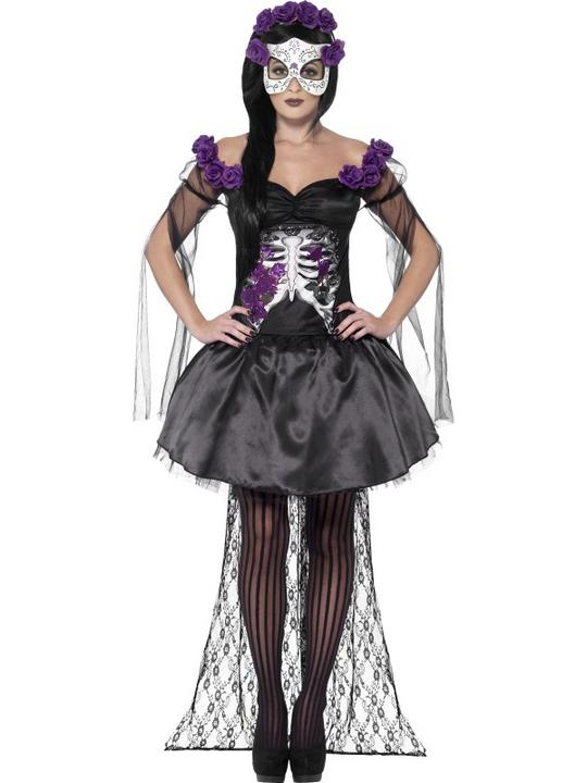 Adult Sexy Mexican Day Of The Dead Senorita Ladies Halloween Fancy Dress Costume Thumbnail 1
