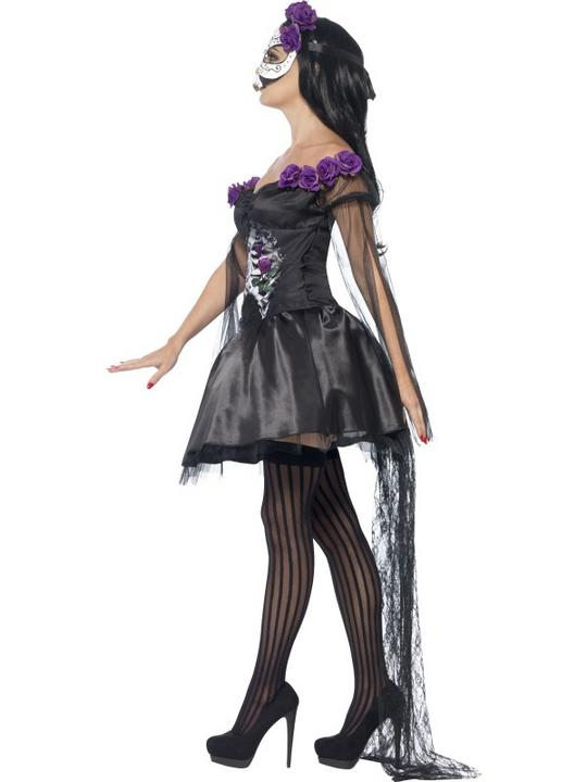 Adult Sexy Mexican Day Of The Dead Senorita Ladies Halloween Fancy Dress Costume Thumbnail 3