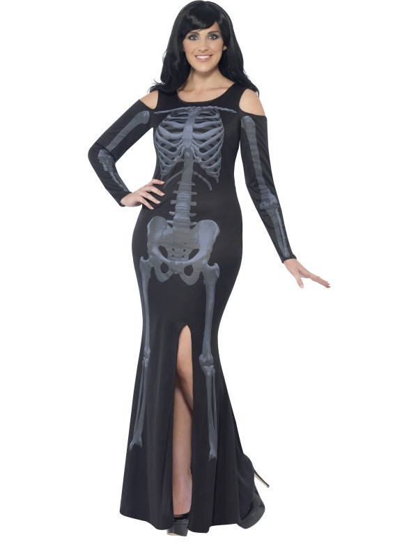 Adult Fuller Figure Sexy Skeleton Bones Ladies Halloween Fancy Dress Costume