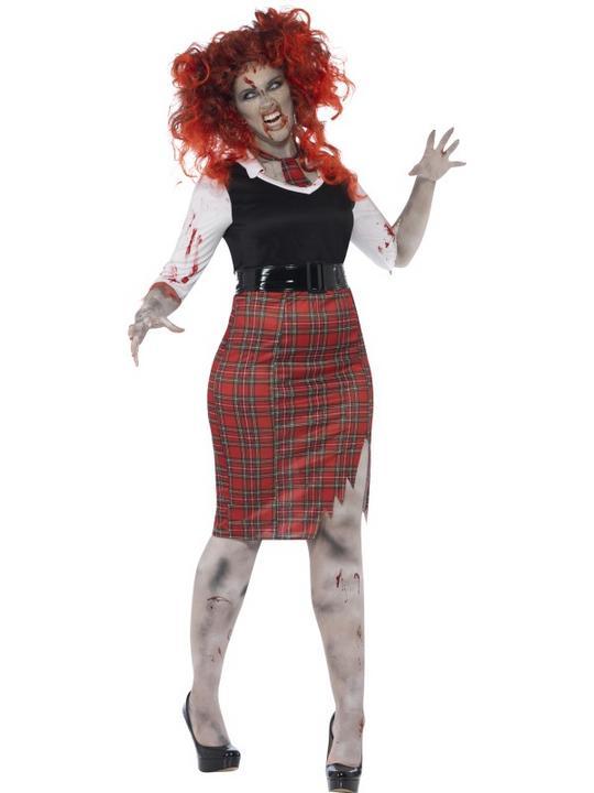 Adult Fuller Figure Sexy Zombie School Girl Ladies Halloween Fancy Dress Costume Thumbnail 1
