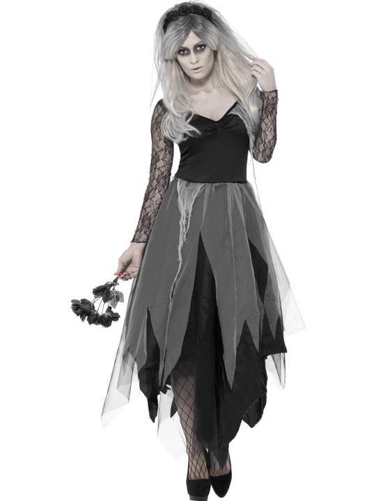 Adult Zombie Graveyard Ghost Bride Ladies Halloween Fancy Dress Costume Outfit Thumbnail 1