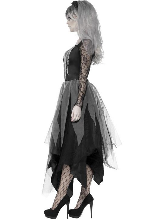 Adult Zombie Graveyard Ghost Bride Ladies Halloween Fancy Dress Costume Outfit Thumbnail 3