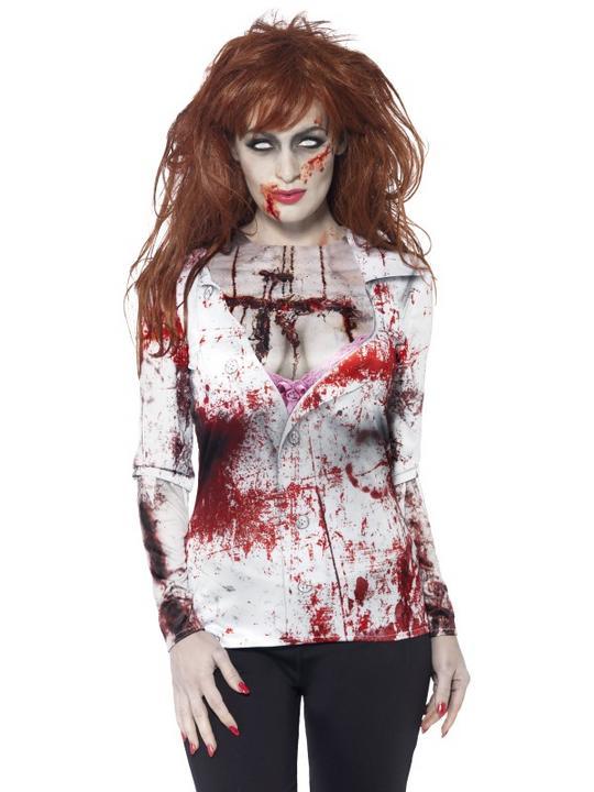 SALE Adult Sexy Walking Dead Zombie T-Shirt Ladies Halloween Fancy Dress Costume Thumbnail 1