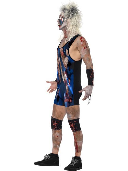 Adult WWF Walking Dead Zombie Wrestler Mens Halloween Fancy Dress Costume Outfit Thumbnail 3