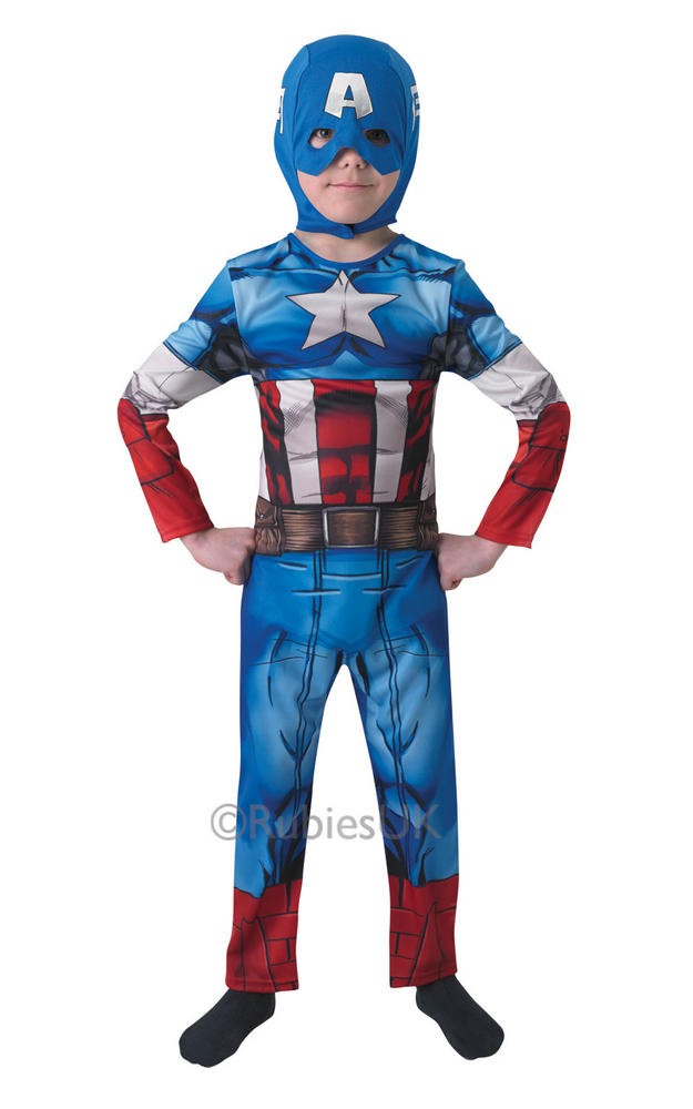 Kids Marvel Avengers Superhero Captain America Boys Fancy Dress Childs Costume