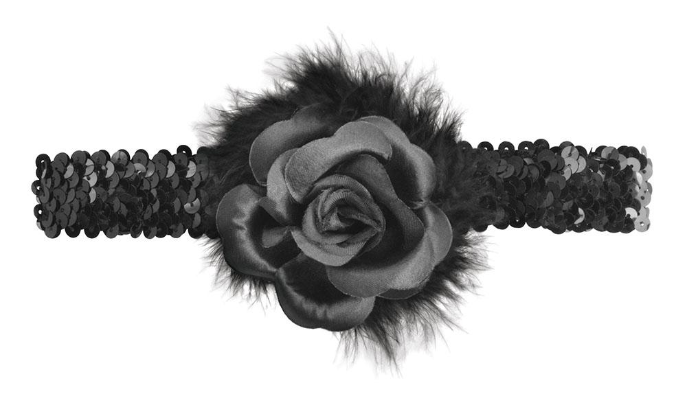 Black Rose Flapper Headband