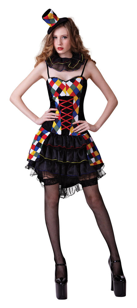Adult Sexy Circus Carnival Clown Ladies Fancy Dress Hen Party Costume Outfit