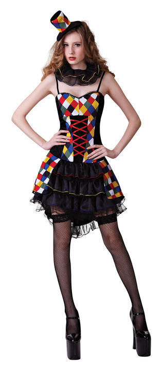 Adult Sexy Circus Carnival Clown Ladies Fancy Dress Hen Party Costume Outfit Thumbnail 1