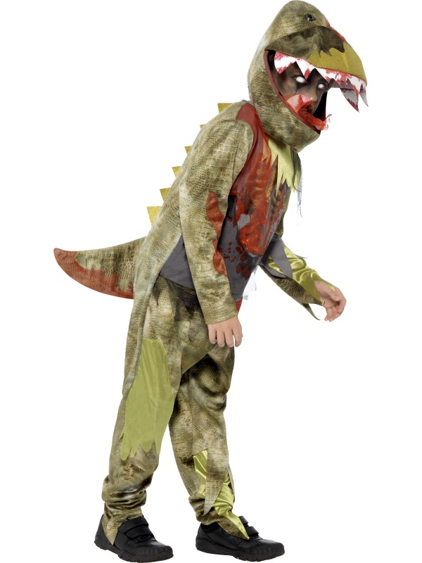 Kids Deluxe Deathly Zombie Dinosaur Boys Halloween Fancy Dress Childs Costume