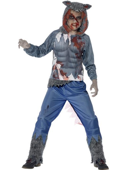 Kids Deluxe Zombie Werewolf Boys Halloween Party Fancy Dress Childs Costume Thumbnail 1