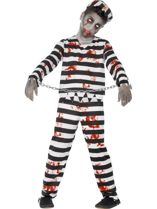 Kids Zombie Prisoner Convict Boys Halloween Horror Fancy Dress Childs Costume Thumbnail 1