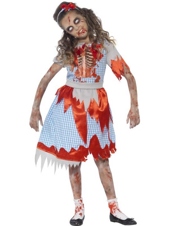 Kids Living Dead Zombie Country Maid Girls Halloween Fancy Dress Childs Costume Thumbnail 1
