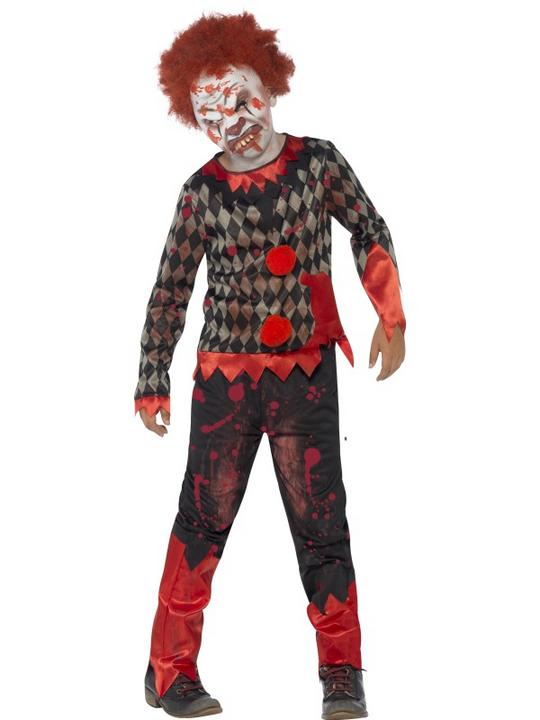 Kids Deluxe Living Dead Zombie Clown Boys Halloween Fancy Dress Childs Costume Thumbnail 1
