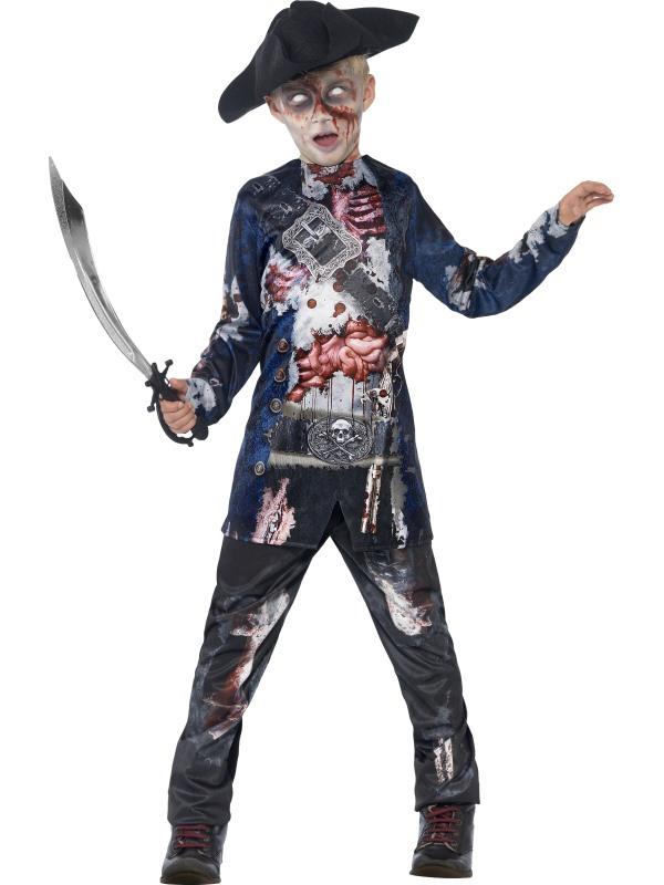 Kids Deluxe Jolly Rotten Zombie Pirate Boys Halloween Fancy Dress Childs Costume