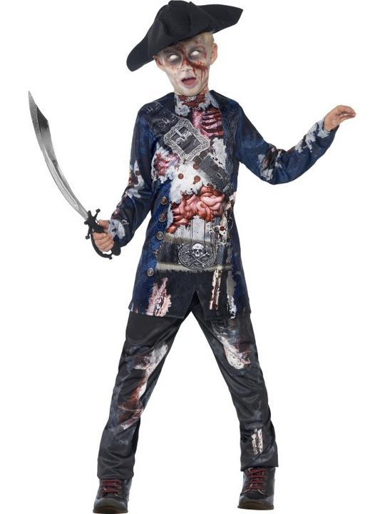 Kids Deluxe Jolly Rotten Zombie Pirate Boys Halloween Fancy Dress Childs Costume Thumbnail 1