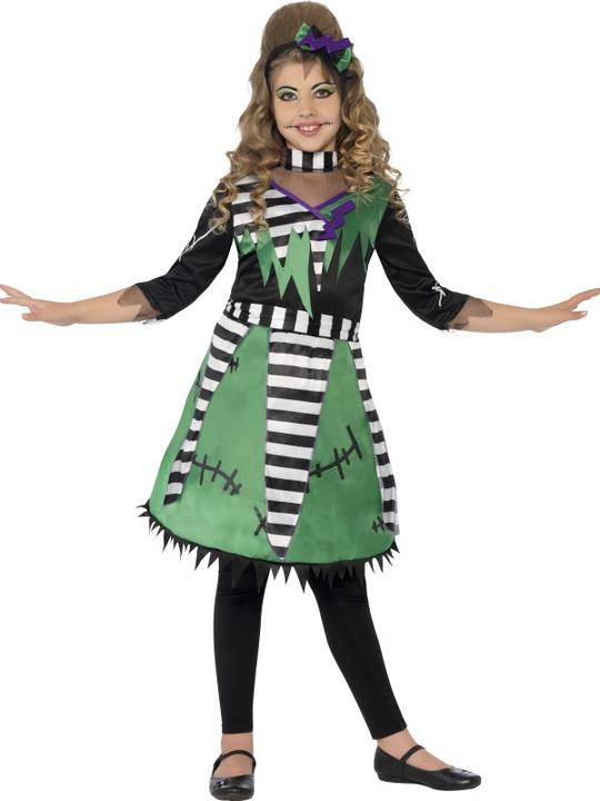Kids Frankie Monster Girls Halloween Party Fancy Dress Childs Costume Outfit Thumbnail 1