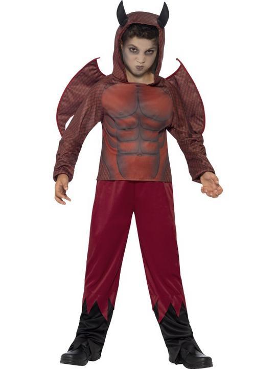 Boys Halloween Deluxe Devil Costume Kids Horror Fancy Dress Outfit Thumbnail 1