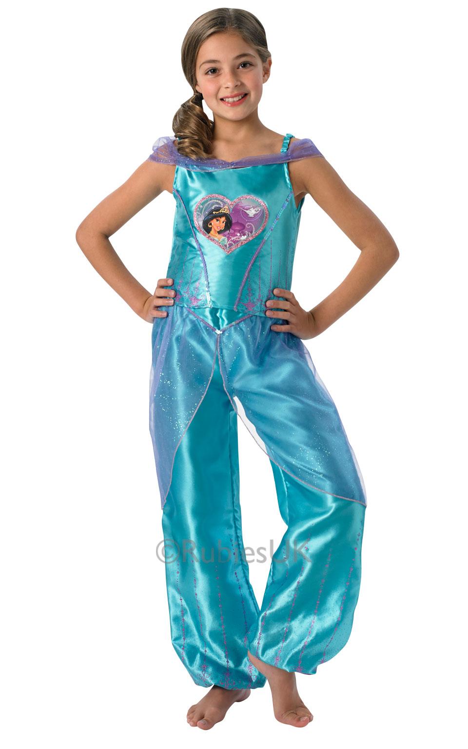 kids disney princess loveheart jasmine girls fancy dress childs costume outfit. Black Bedroom Furniture Sets. Home Design Ideas