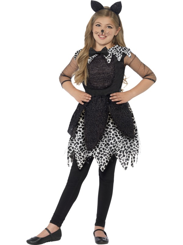 Kids Deluxe Midnight Witches Black Cat Girls Halloween Party Fancy Dress Costume