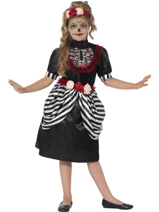 SALE Kids Day Of The Dead Sugar Skull Girls Halloween Fancy Dress Childs Costume Thumbnail 2