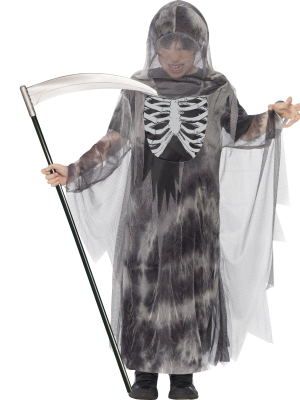 Kids Ghostly Reaper Ghoul Boys Halloween Party Fancy Dress Childs Costume Outfit