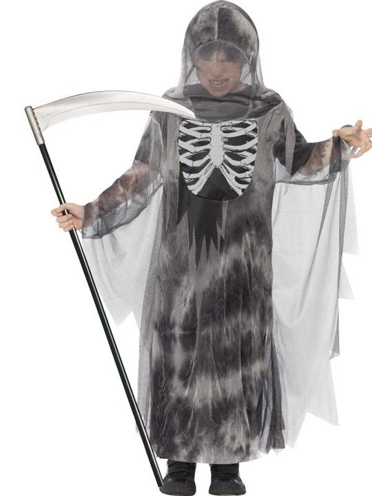 Kids Ghostly Reaper Ghoul Boys Halloween Party Fancy Dress Childs Costume Outfit Thumbnail 1