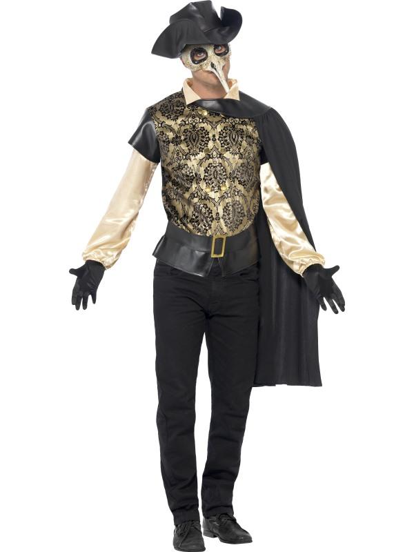 adult black death plague doctor mens halloween party fancy dress costume outfit. Black Bedroom Furniture Sets. Home Design Ideas