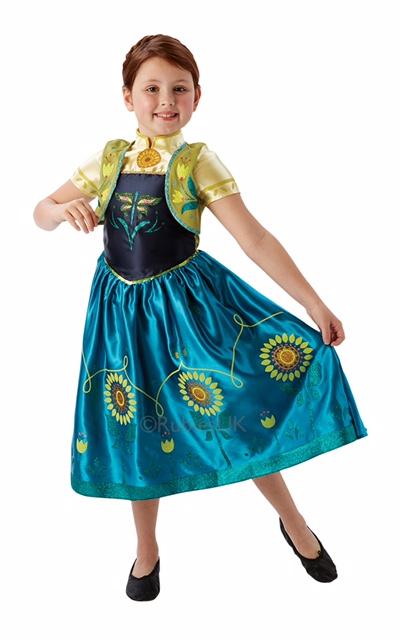 Kids Disney Frozen Fever Princess Anna Girls Fancy Dress Childs Costume Outfit Thumbnail 1
