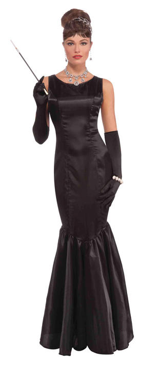 Adult High Society Long Black Dress Costume Thumbnail 1
