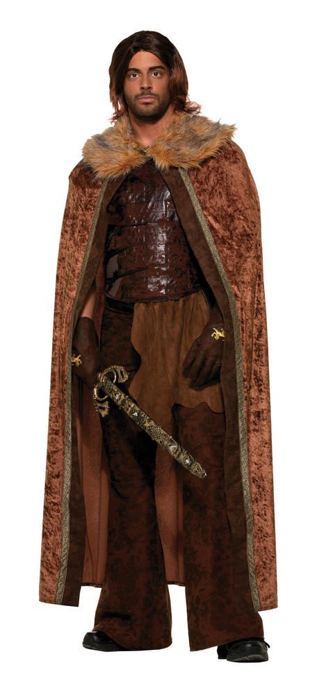 Faux Fur Trimmed Cape Brown. Male